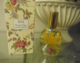 Vintage Laura Ashley  No 1 Concentrated Cologne Perfume 2 Oz Natural Spray 1983 Full Bottle French Perfume Fragrance