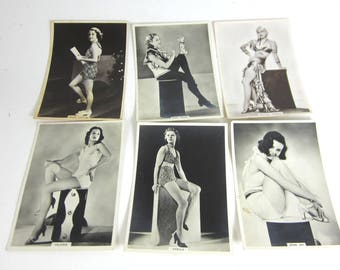 Bathing beauties pin-up photos cards 1930s glamour girls black and white photos British cigarette cards