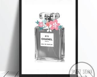 Perfume Print, Channel Perfume Print, Girl wall art, scandi & nordic decor, wall art, monochrome print, wall decor- 8x10'