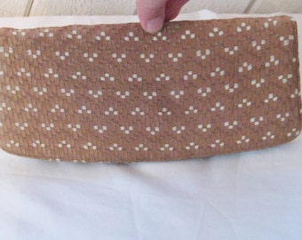 Brown woven ribbon clutch, formal evening tweed purse, medium chocolate brown, ivory,  50s mid century, bags and purses, 1443