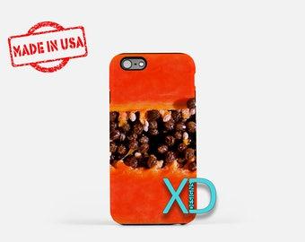 Papaya iPhone Case, Fruit iPhone Case, Papaya iPhone 8 Case, iPhone 6s Case, iPhone 7 Case, Phone Case, iPhone X Case, SE Case