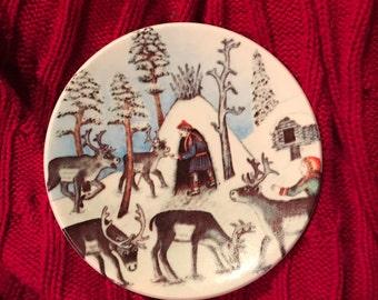 Finland Arabia Plate Reindeer Keeper in Winter