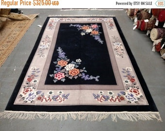 YEAR END CLEARANCE 1980s Vintage Hand-Knotted 6x9 Art Silk Sculpture Chinese Rug (2602)