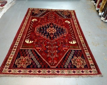 Persian Rug - 1980s Hand-Knotted Shiraz Rug (3573)