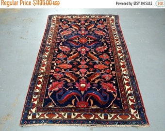 SPRING SALE 1940s Hand-Knotted Antique Hamadan Persian Rug (3527)