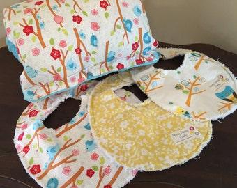 Baby Bibs Set of 3 Owls Flowers Birds