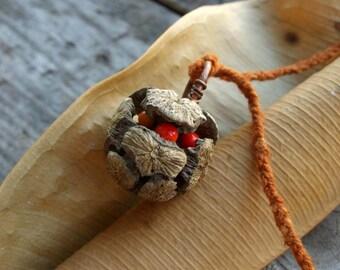 Cypress cone pendant, Organic necklace, Botanical pendant, Brown red orange, Eco friendly necklace, Wood glass silk copper, Boho pendant