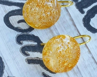 Gold Earrings, Round Earrings, Quartz Earrings, Gold Disc Earrings. Bohemian Jewelry, Crystal Earrings, Resin Earrings, Golden Earrings