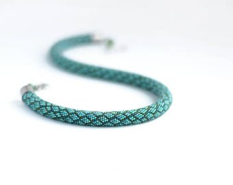 Bead crochet necklace Snake skin print jewelry Snake pattern choker Teal green neckpiece
