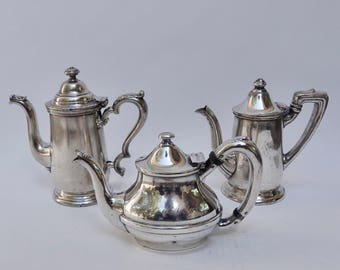 RESERVED - Set of Three Hotel Silver Coffee Pots, Tea Pot