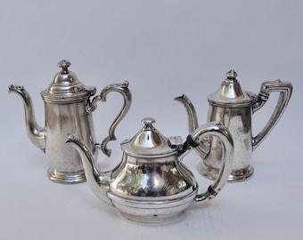 Set of Three Hotel Silver Coffee Pots, Tea Pot
