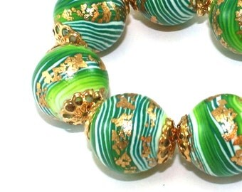 Elegant round stripes beads with gold touch, green strips beads for Jewelry making, polymer clay beads in greens, set of 8 unique beads