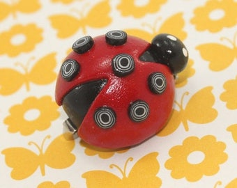 SPRING SALE Red Ladybug brooch, polymer clay ladybug, red beetle brooch, elegant and unique gift for girls, teens and women.