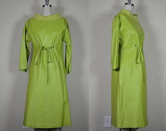 1960s Rare Bonnie Cashin Sills & Co. Chartreuse Green Leather Dress Silk Lined Bust 36""