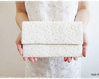 Bridesmaids large lace envelope clutch, ivory clutch, lace clutch purse, lace fabric clutch, wedding bridal evening purse