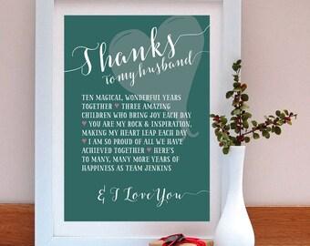 Thanks to my husband personalised anniversary print/ Anniversary Gift / Gift for Husband / Personalised Anniversary Gift / Anniversary