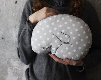Bunny rabbit pillow stuffed toy boho nursery decor 9x12 inches primitive animal baby shower gift rustic grey white polka dot