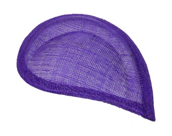 Purple Sinamay Paisley Beveled Teardrop Fascinator Hat Base - Available in 8 Colors