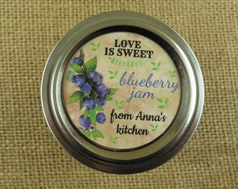 Personalized Canning - Vintage Blueberry Design - 20 4 Oz  Mason Jars Jars or 12 8 Oz Square Mason Jars With Custom Labels - vfc