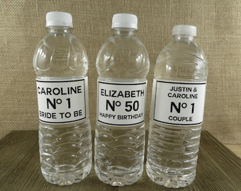 Personalized Water Bottle Labels - Classic Couture Design - ANY OCCASION - Waterproof Water Bottle Labels - cc5