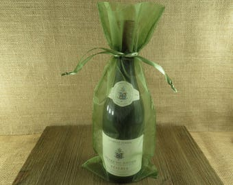 Organza Wine Bags - Moss Green - Great for Wedding Wine Favors - 10 bags