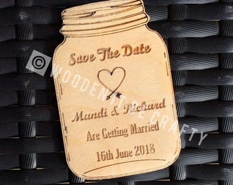Laser Engraved Mason Jar Save The Date Magnet