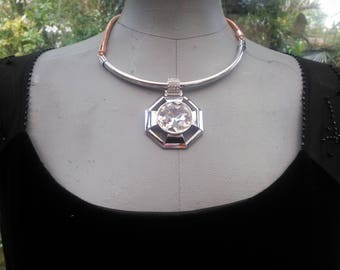 Large Silver crystal Art deco vintage pendant necklace ajustable chain fastener 22/26 inches wedding prom party