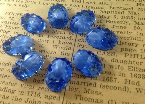 Vintage Sparkling Sapphire Blue Oval Glass Stones - Druzy, Rock Crystals -  Foil Backs, Rhinestones, Cabs, Fancy - Qty 8