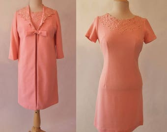Pink Ensemble, Dress and Coat With Cut Work Trim - 1960s