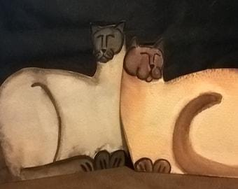 TWO SIAMESE CATS-- Kitty Sitz shelf setter-for shelf or desk - original cat art for cat lovers - 2 dollar shipping