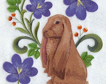 English Lop Rabbit in Flowers Embroidered on Made-to-Order Pillow Cover