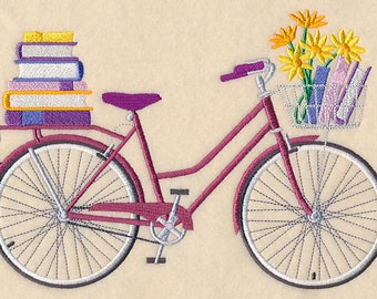 Bibliophile Bicycle Embroidered on Made-to-Order Pillow Cover