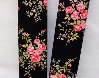 2 Car Strap Covers - Black and Pink Floral Design Car Seat Belt Covers - Seat Belt Pads - Floral Print - Gift for Mum - Gift for Mom