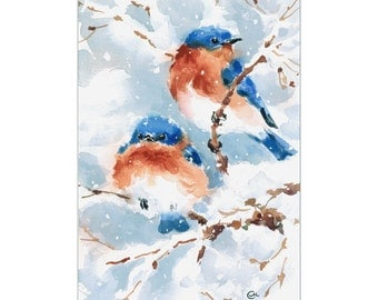 Bluebirds - Original Watercolor Bird Painting 7 x 10.5 inches Love Couple Snow Winter Christmas Gift