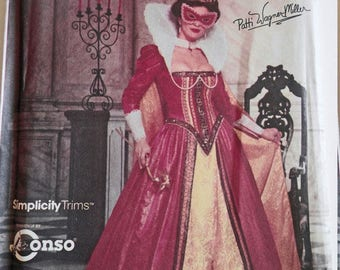 Renaissance Costume Collection, Womens Masked Ball Formal Gown, Cape, Mask Costume, Medieval Dress, Costume Sewing Pattern, Simplicity 9832