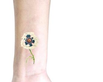 Anemone tatuaggio temporaneo piccolo / tatuaggio illustrazione floreale / fiori vintage tatuaggio temporaneo / tatuaggio da polso braccio