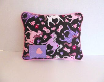 Horse Theme Tooth Fairy Pillow, Pink and Purple Pillow , Girls Pocket Pillow