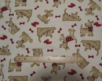 Tan with Brown Dog/Puppy  Flannel Fabric  by the Yard