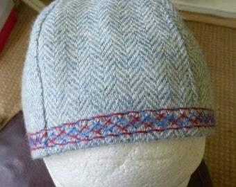 Blue herringbone viking 6 panel hat
