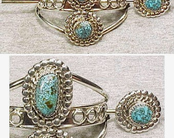 Beautiful Navajo SS Hair Barrette 3 Blue Spiderwebbed Turquoise Cabs Adjustable