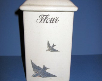 """Antique Hull Pottery ~"""" BLUEBIRD"""" China Flour Canister c.1920"""