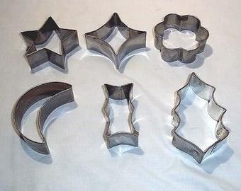 Set of 6 Vintage Metal Cookie Cutters