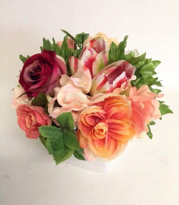 Spring Flower Arrangement / Coral / Faux / Artificial Arrangement