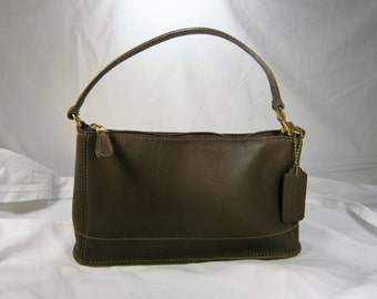 Vintage Coach Handbag, Brown Leather Coach Bag, Leather Wristlet, Large Zippered Pouch,  Signed and Numbered