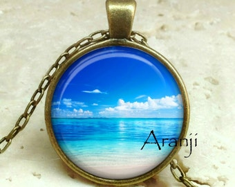 Beach art pendant, beach necklace, ocean necklace, ocean pendant, beach pendant, tropical pendant, island pendant, tropical Pendant #SP138BR