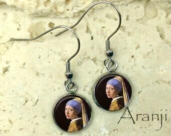 Girl with a Pearl Earring earrings, Vermeer earrings, Girl With a Pearl Earring jewelry, Vermeer art earrings, fine art earrings AR114E