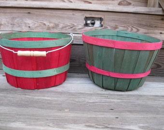 2 Red & Green Baskets-Peck Market Baskets-2 Mini Bushel-Farm Apple Baskets-Split Wood Basket-Wooden Garden Basket-Fall Autumn Home Decor