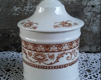 Covered  Lidded Canister Jar, Brown Floral,  Kent Fenton England, Dominion, English Transferware,  Sugar Jar, Bathroom, Storage Jar
