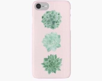 Blush Pink Succulent iPhone Case, cactus iphone 7 case, cactus iphone 6 case, succulent case, pink iphone 7 case, succulent iphone