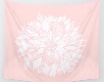 Pink Flower Wall Tapestry, pink wall tapestry, blush pink tapestry, light pink tapestry, pink flower tapestry, pink floral tapestry
